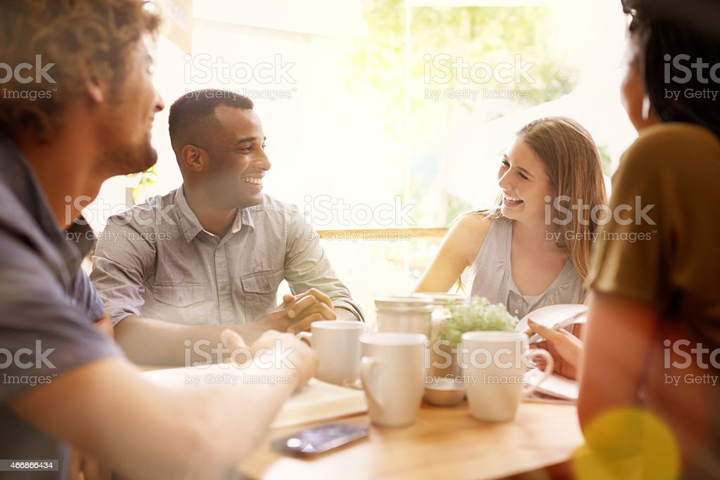 Coffee and friends stock photo