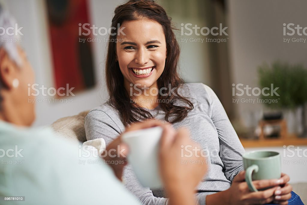Coffee and gossip go together so well stock photo