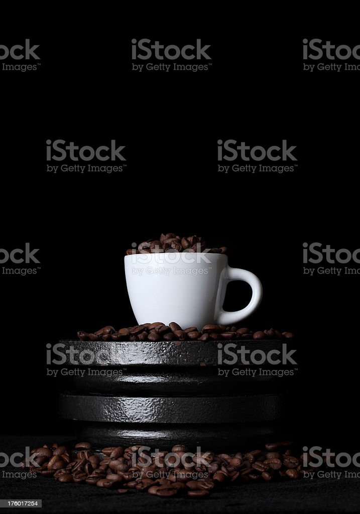 coffee and gym weights royalty-free stock photo