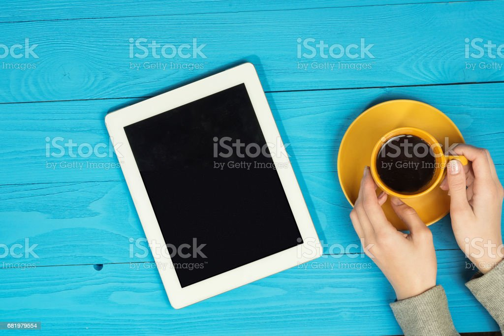 coffee and hands stock photo