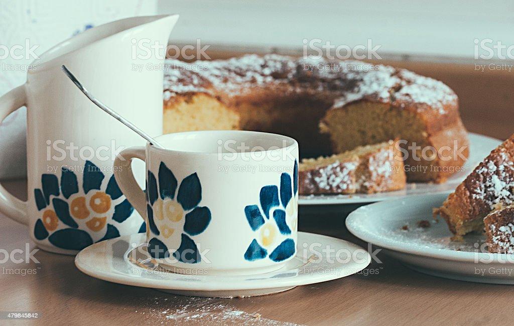 Café e bolo caseiro de foto royalty-free