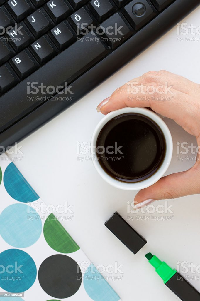 Coffee and keyboard stock photo