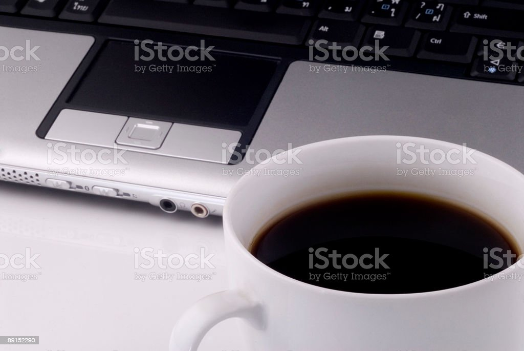 Coffee and laptop 3 stock photo