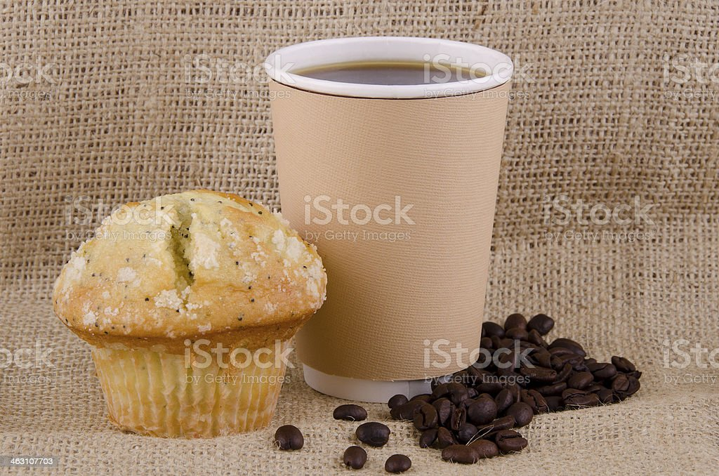 Coffee and lemon poppy seed  muffin stock photo