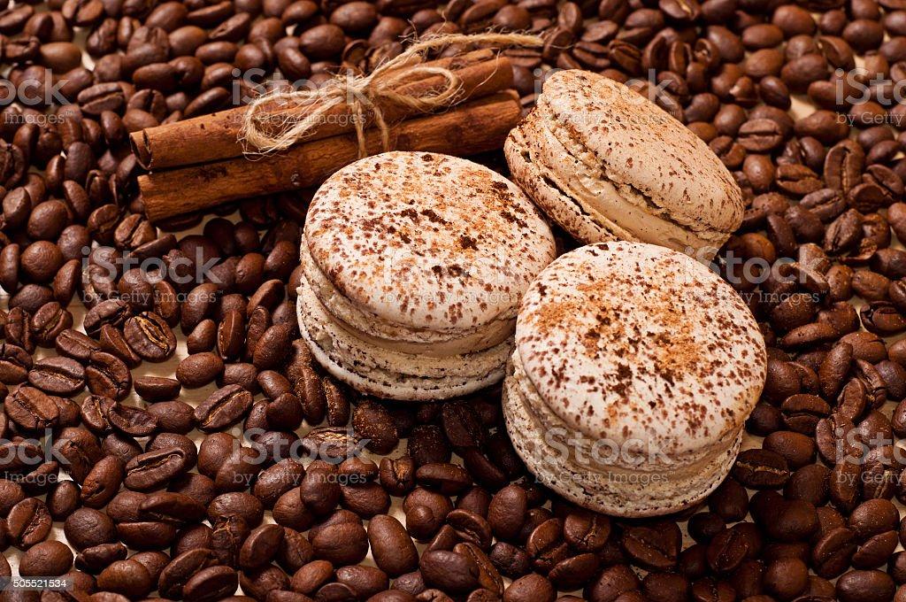 coffee and macaroons stock photo