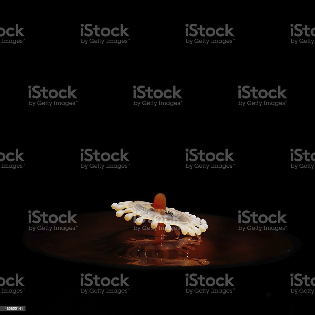 Coffee and Milk drop collisions stock photo