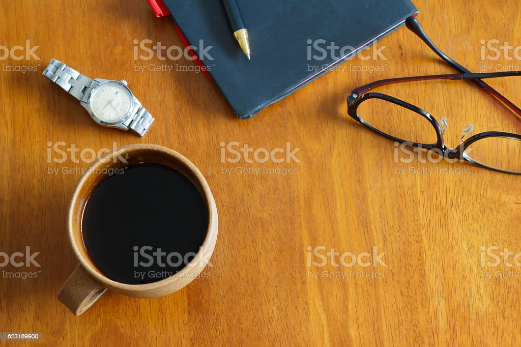 Coffee and miscellaneous goods stock photo