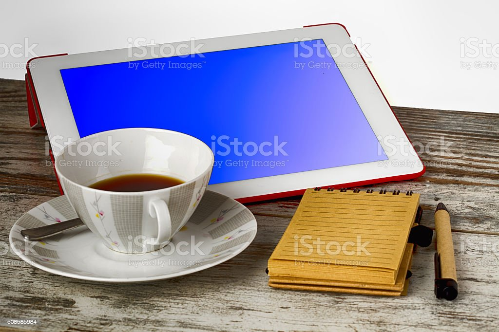 coffee and news in the morning stock photo