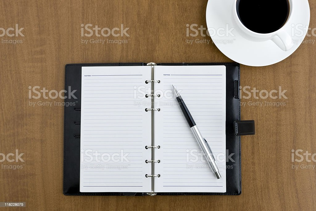 Coffee and note stock photo