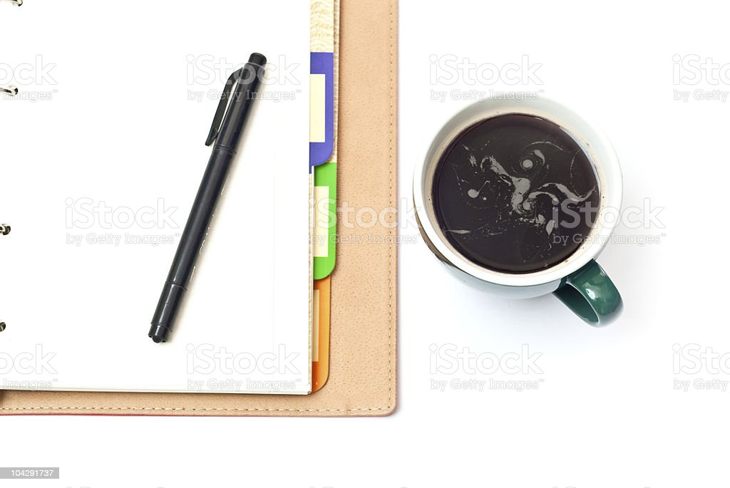 Coffee and notebook royalty-free stock photo