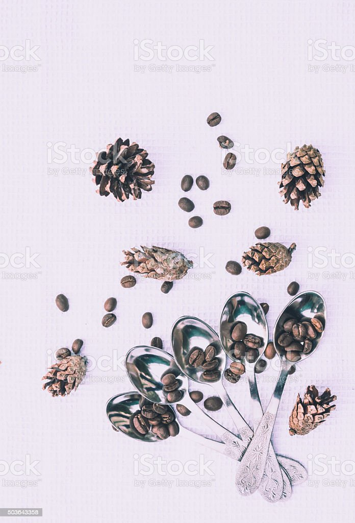 Coffee and pine cones. The Fragrance Of The New Year stock photo