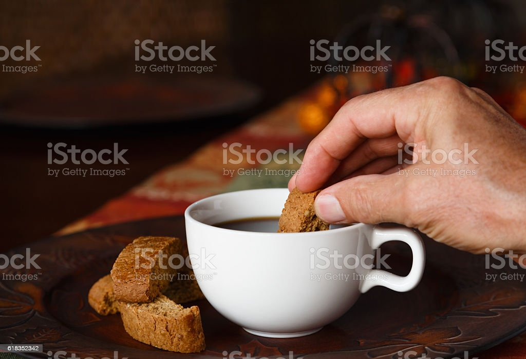 Coffee and Pumpkin Biscotti Series stock photo