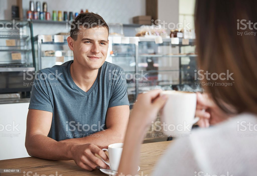 Coffee and romance is on the menu stock photo