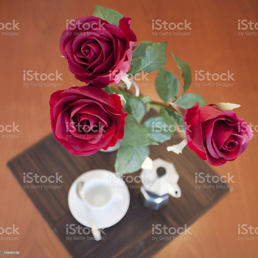 coffee and roses royalty-free stock photo