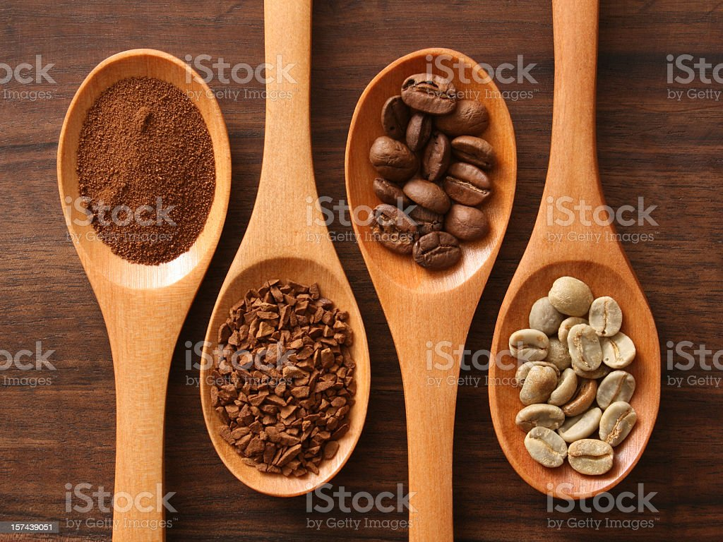 Coffee and spoons stock photo