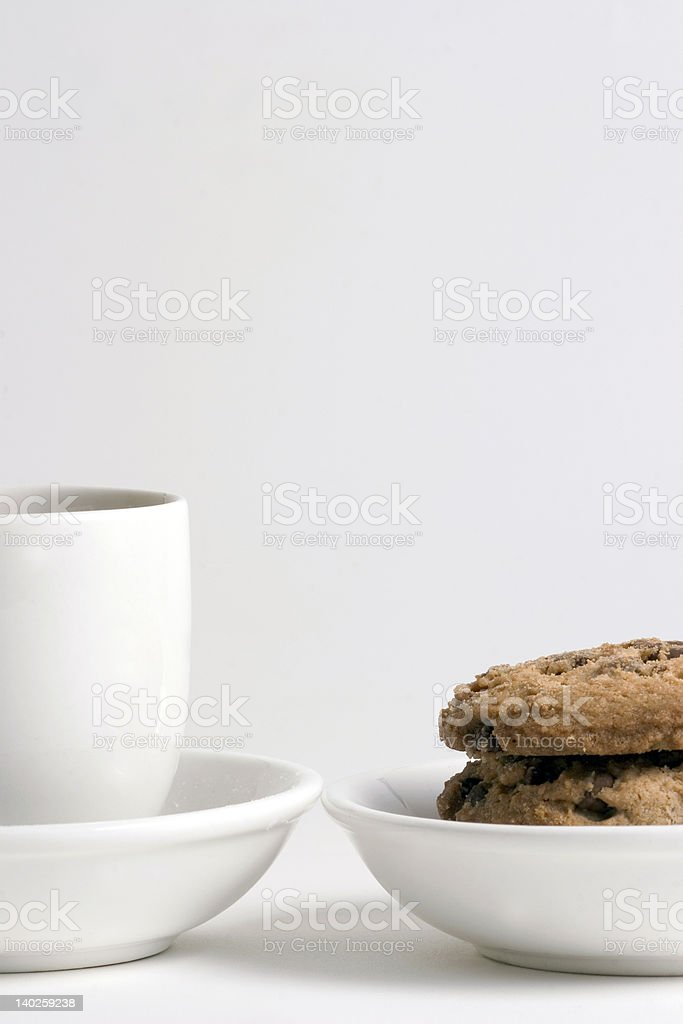 Coffee and Stack of Chocolate Chips cookies royalty-free stock photo