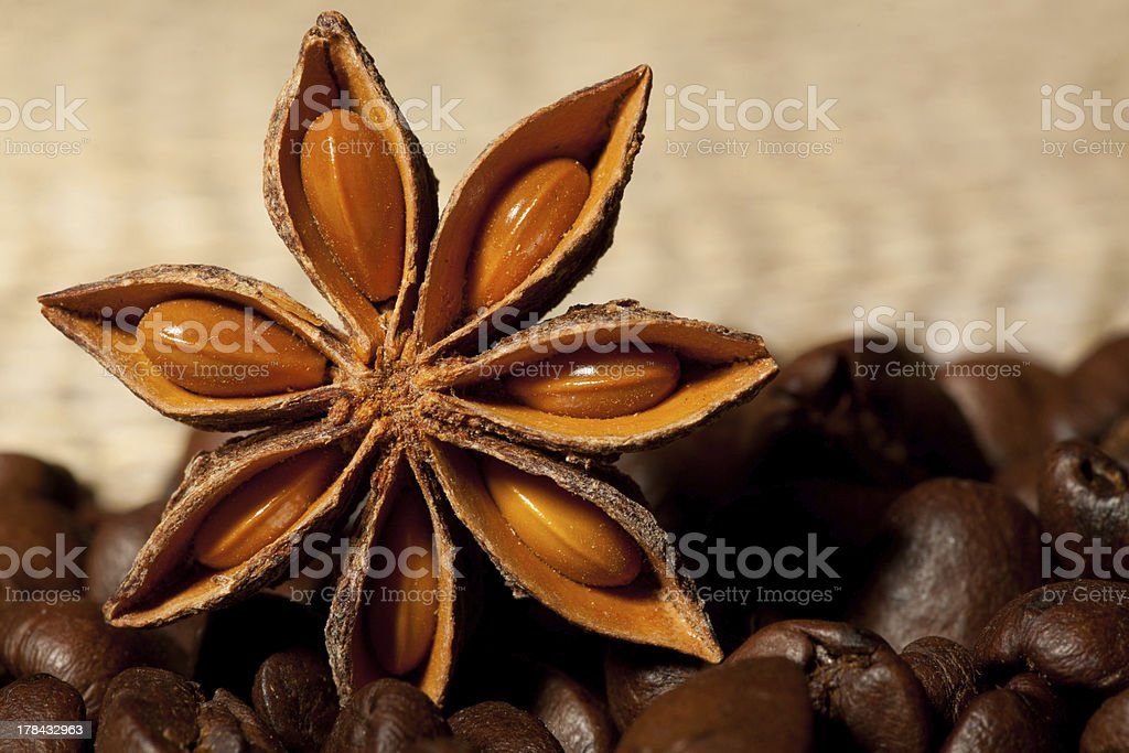 Coffee and Star Anise on sackcloth with copyspace royalty-free stock photo