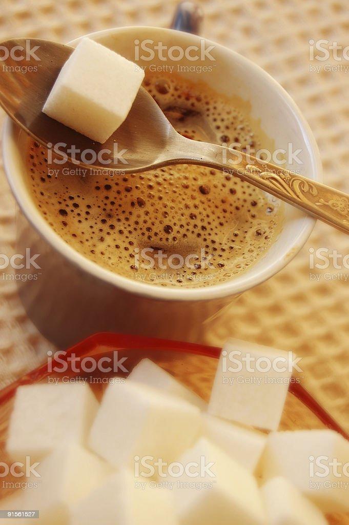 Coffee and sugar royalty-free stock photo
