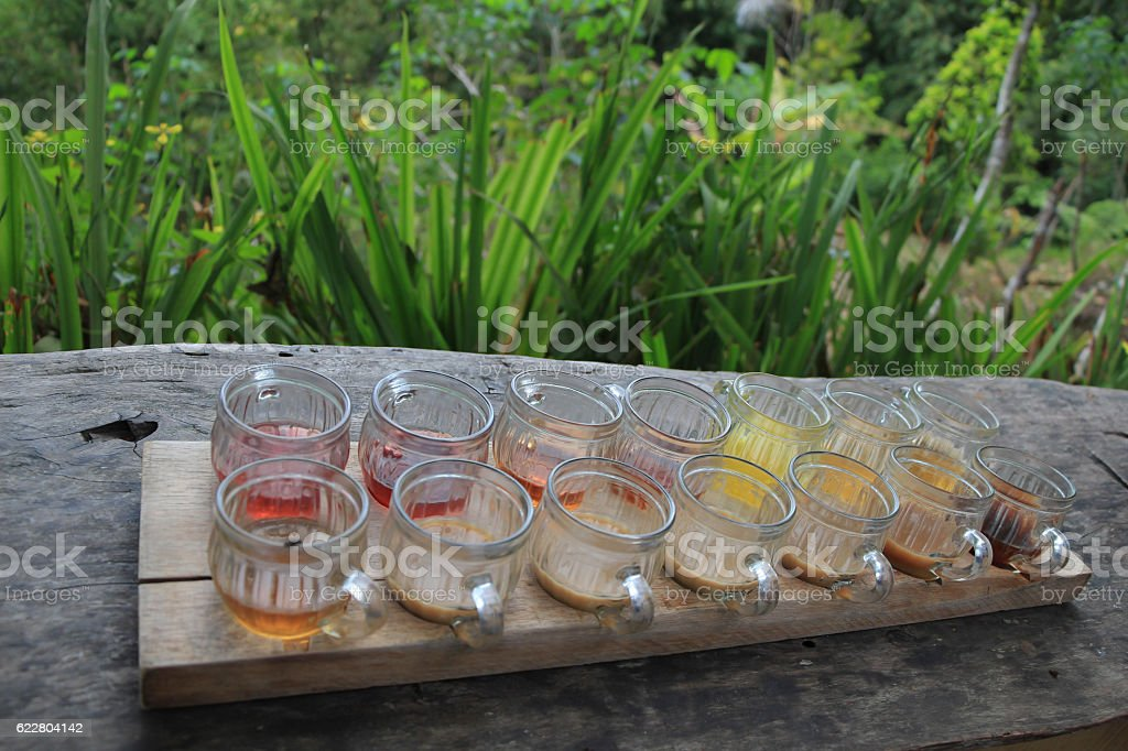 Coffee and tea sample cups on table stock photo