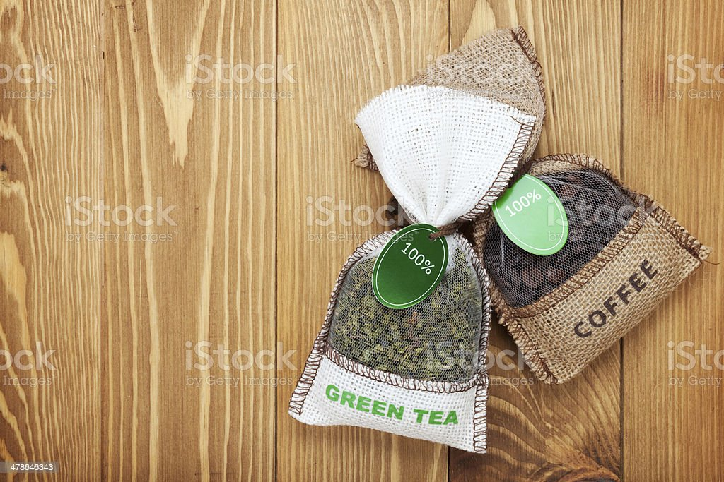 Coffee and tea small bags royalty-free stock photo