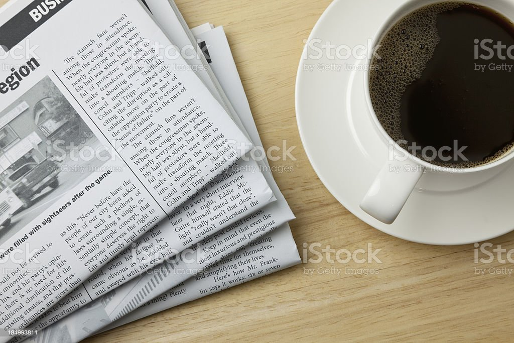Coffee and the Morning Paper stock photo