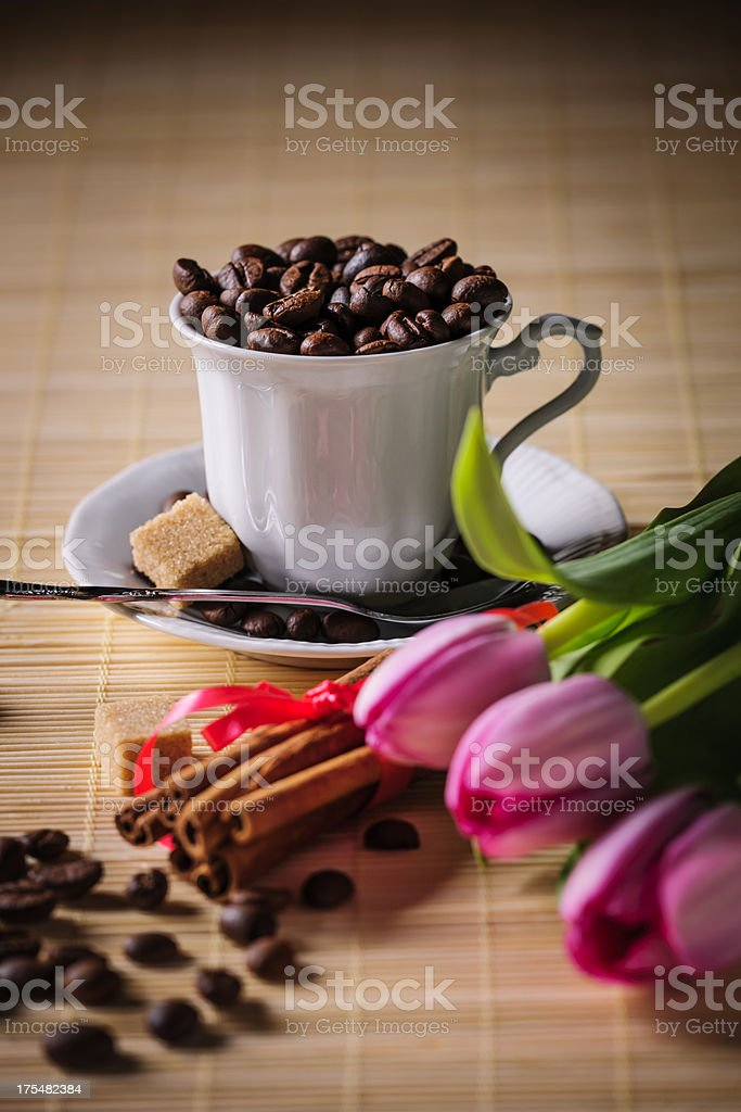 coffee and tulips royalty-free stock photo