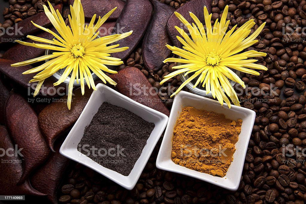Coffee and Turmeric Scrub royalty-free stock photo