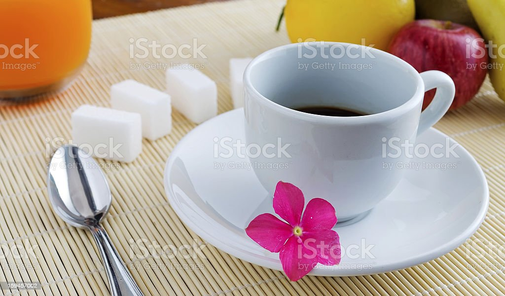 coffee and various fruits royalty-free stock photo
