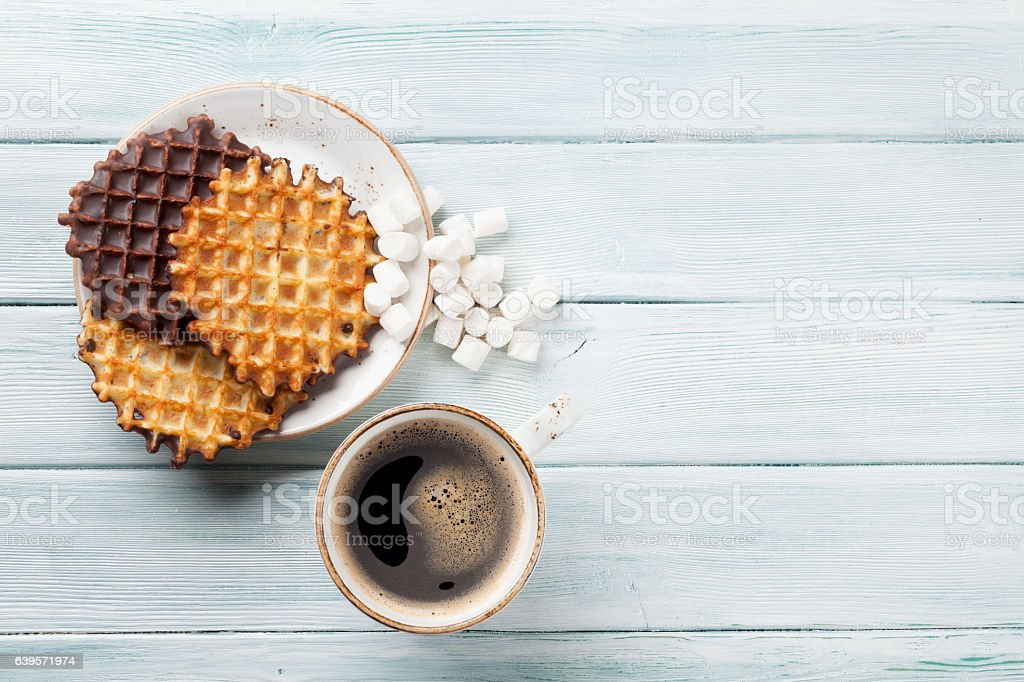 Coffee and waffles stock photo