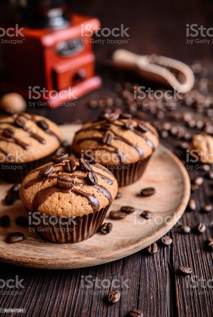 Coffee and walnut muffins stock photo