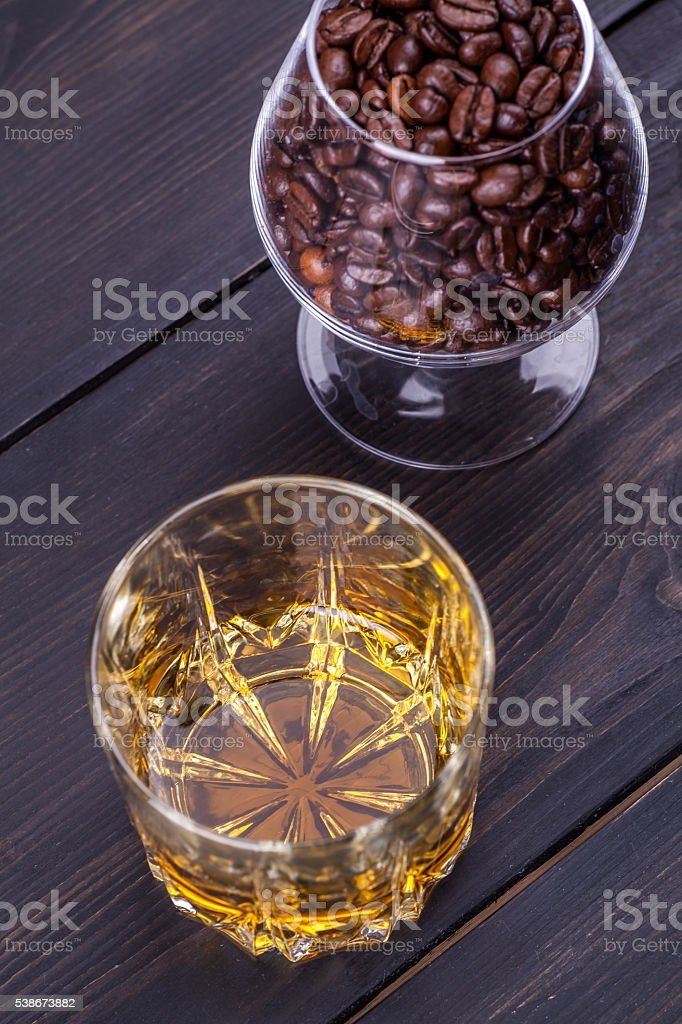 Coffee and whisky stock photo