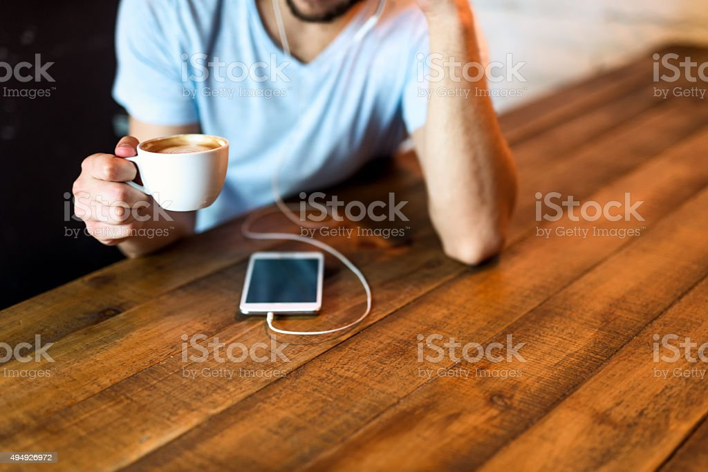 Coffee and wireless stock photo