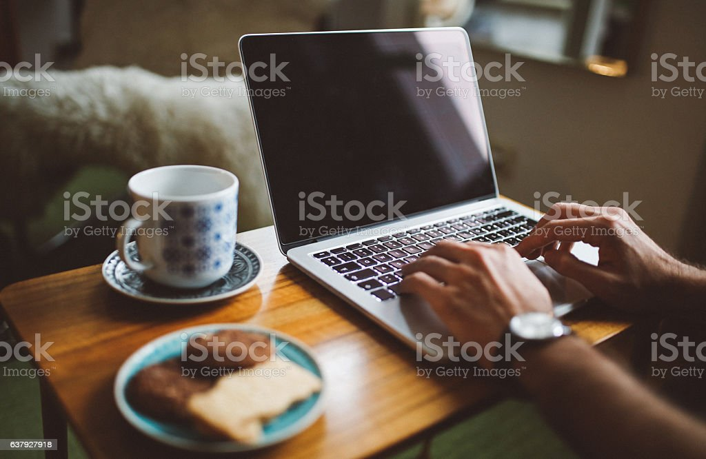 Coffee and work from home stock photo