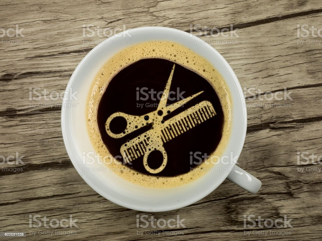 Coffee at the hairdresser stock photo