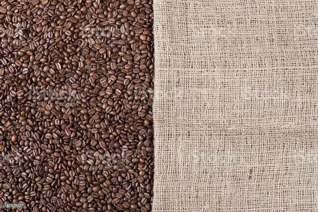 Coffee background with beans and a canvas royalty-free stock photo