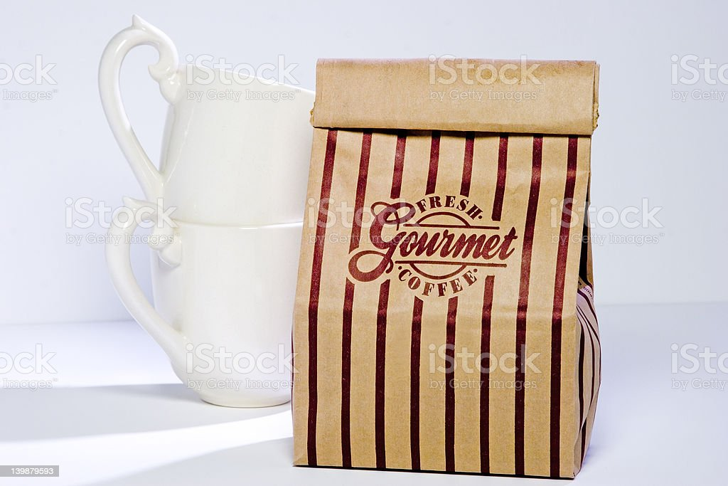 Coffee Bag and Cups royalty-free stock photo