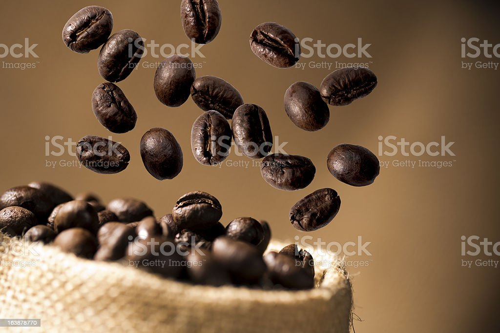 Coffee Bean Caffeine in sacks royalty-free stock photo