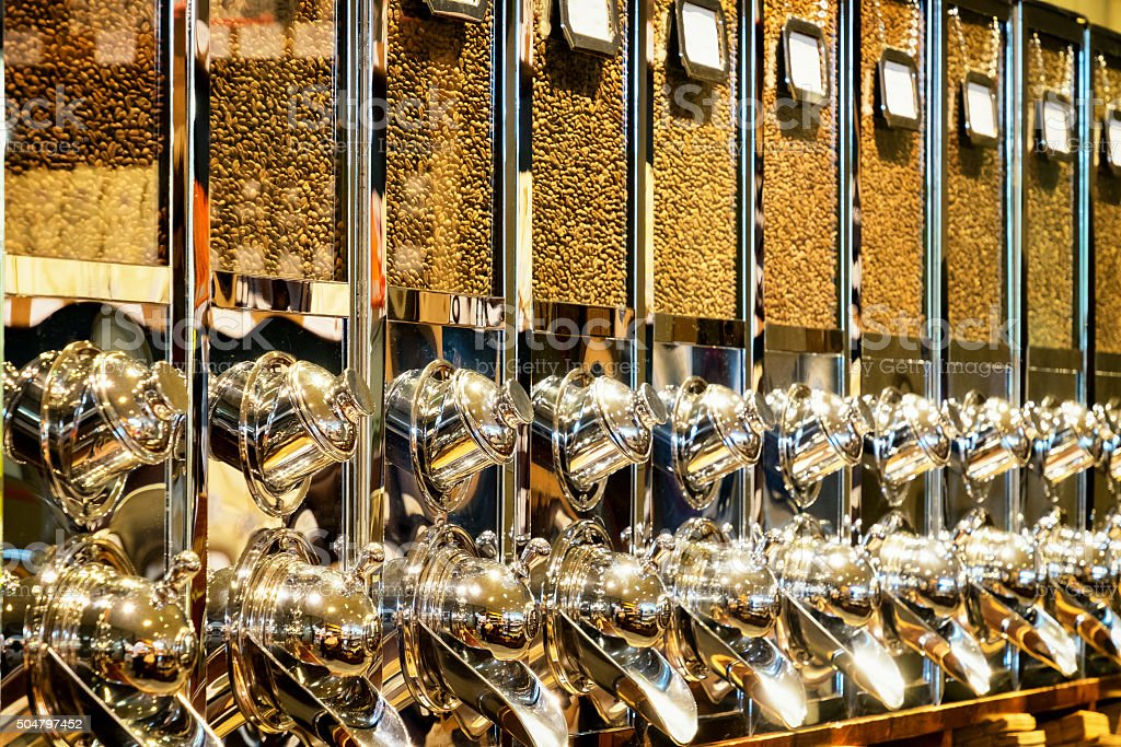 coffee bean dispenser stock photo