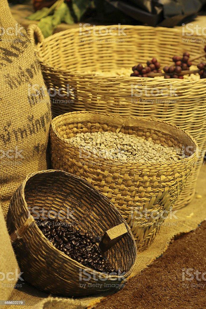 coffee bean in basket, Thailand stock photo