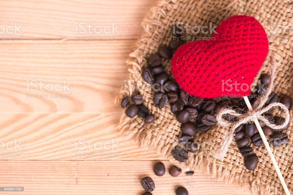coffee bean with love heart stock photo