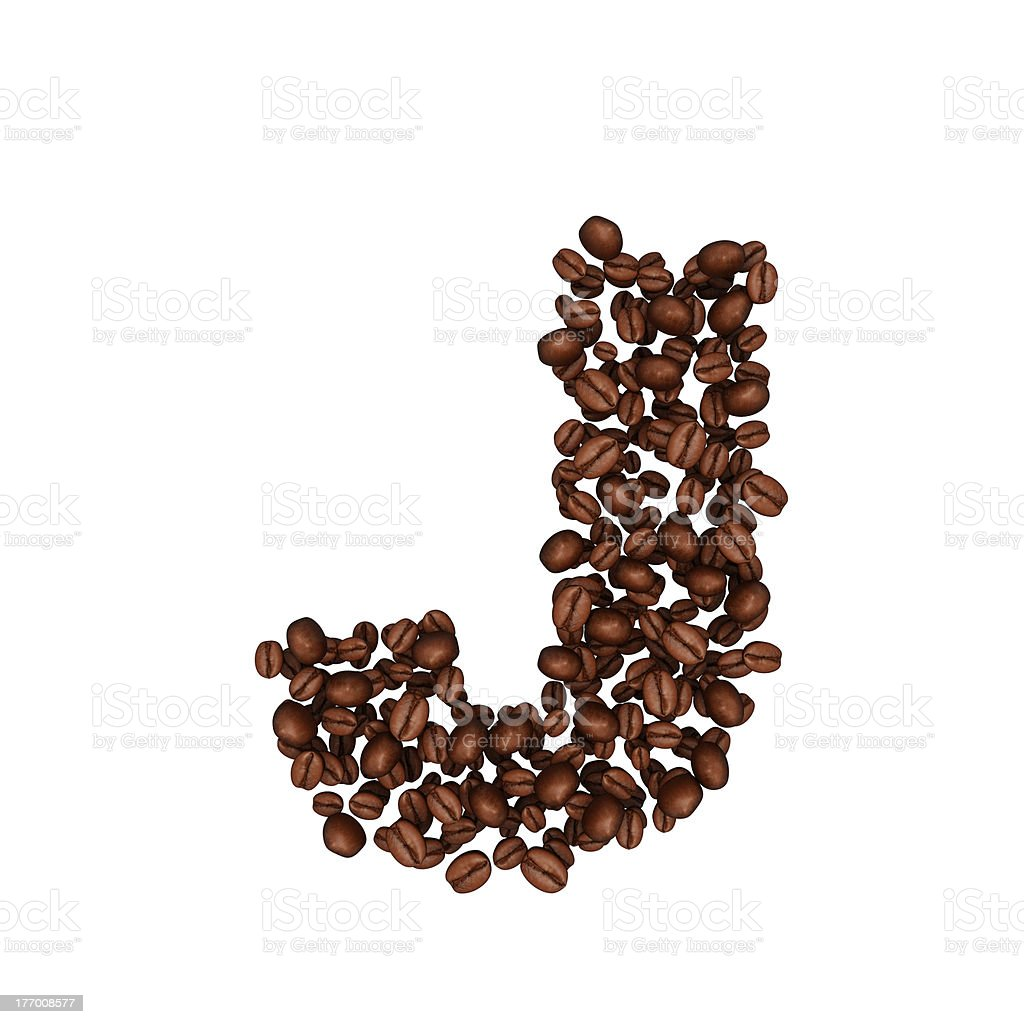 Coffee beans Alphabet. Letter J royalty-free stock photo