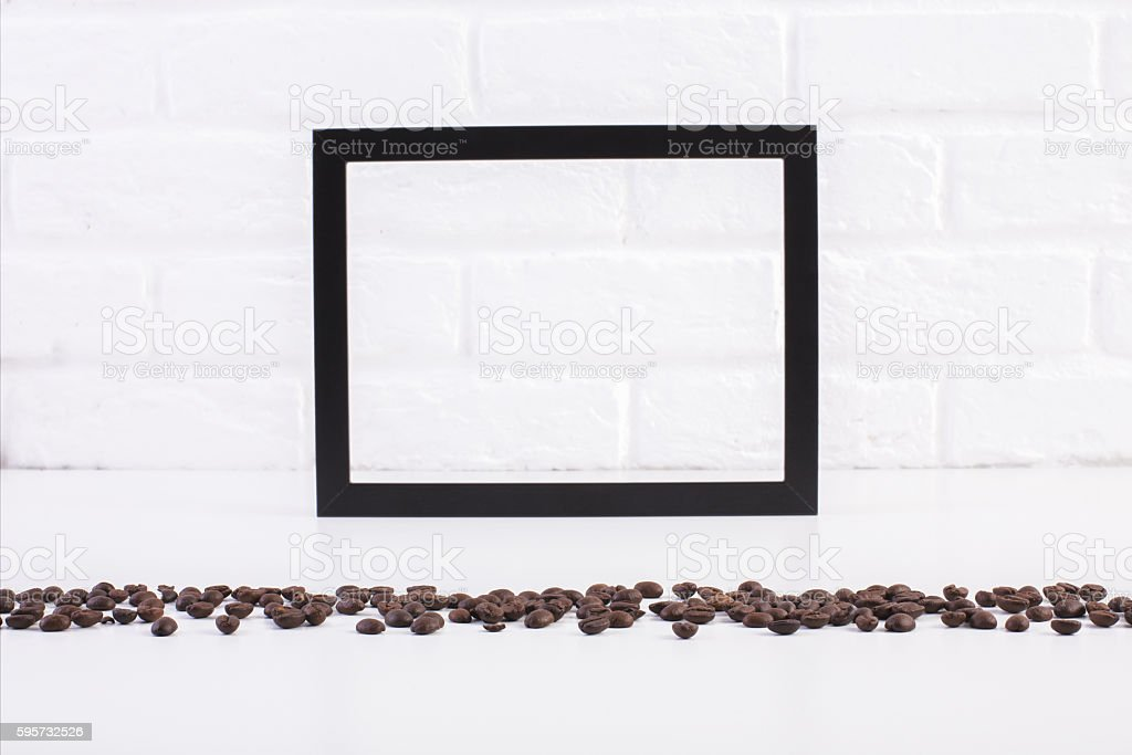 Coffee beans and blank frame stock photo