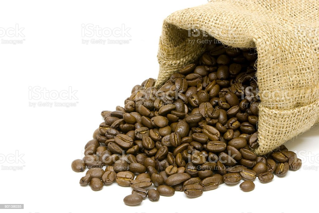 coffee beans and burlap sack royalty-free stock photo