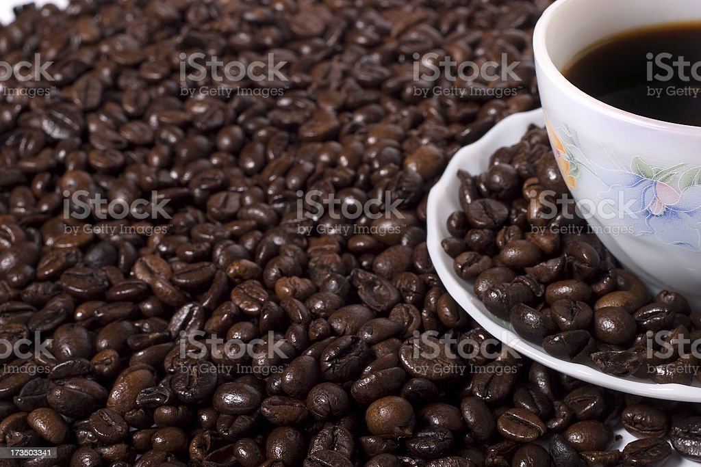 coffee beans and cap royalty-free stock photo