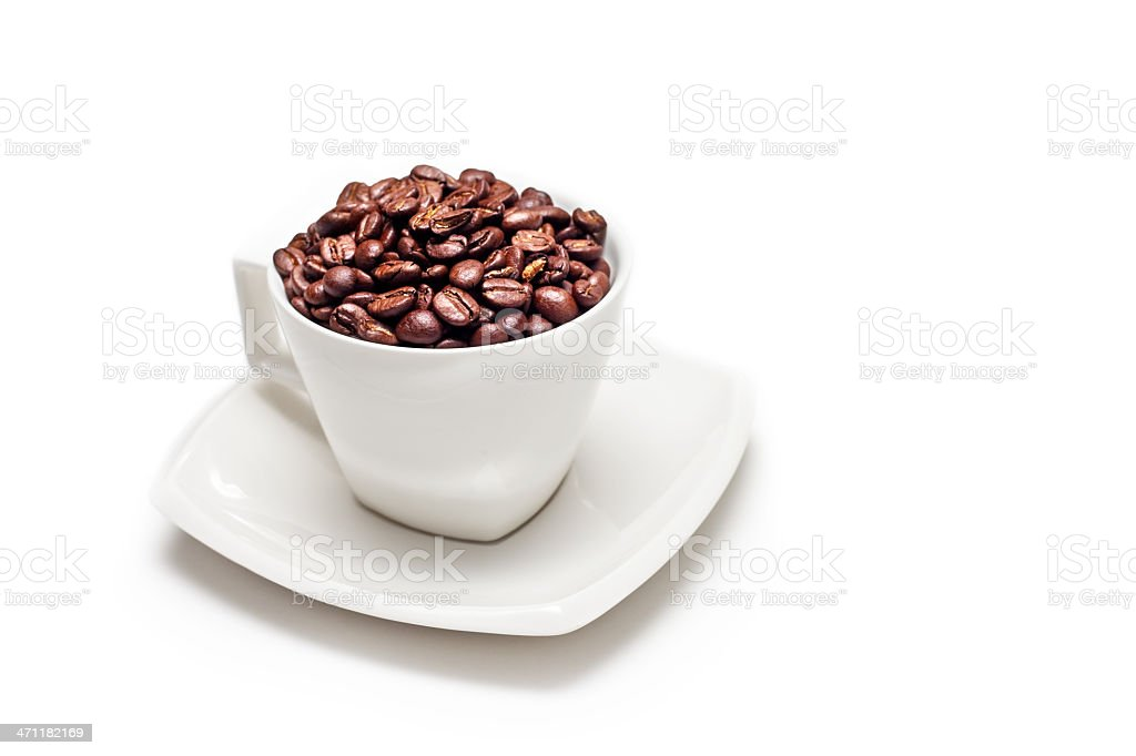 Coffee Beans and Cup Isolated on White XXXL royalty-free stock photo