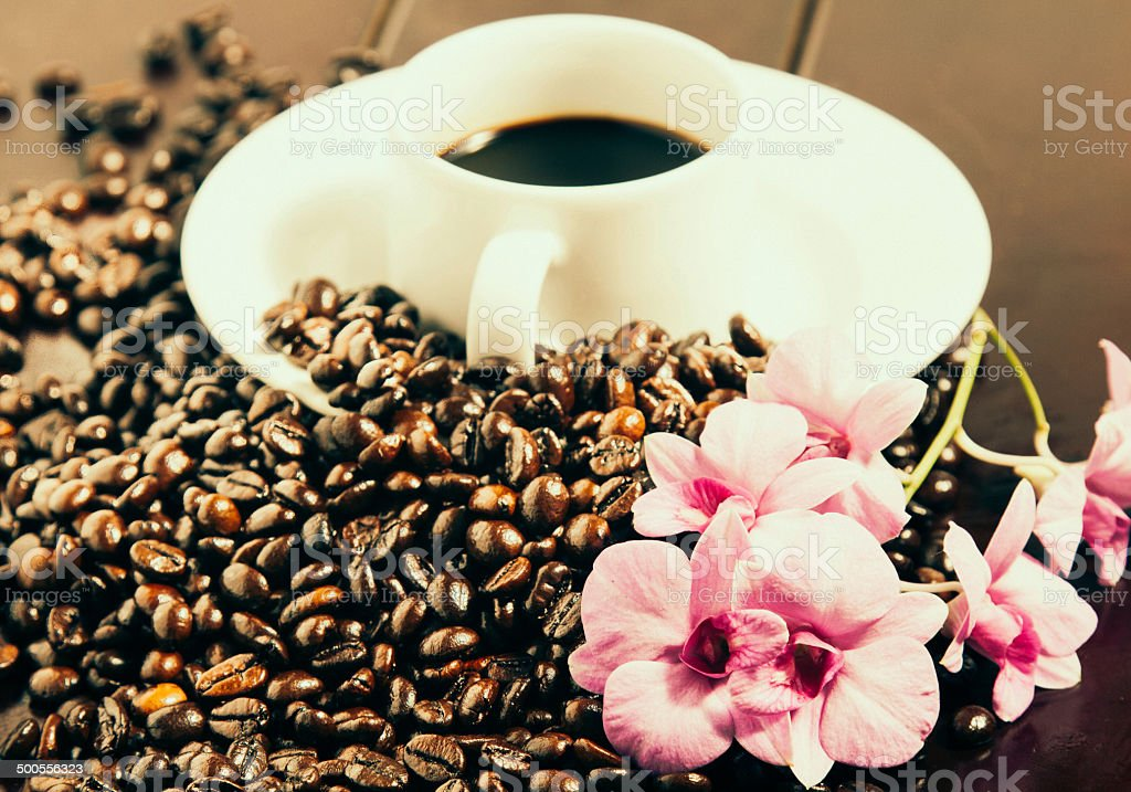 Coffee Beans and Cup royalty-free stock photo