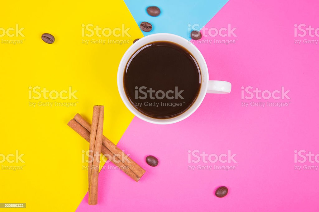 coffee beans and cup stock photo