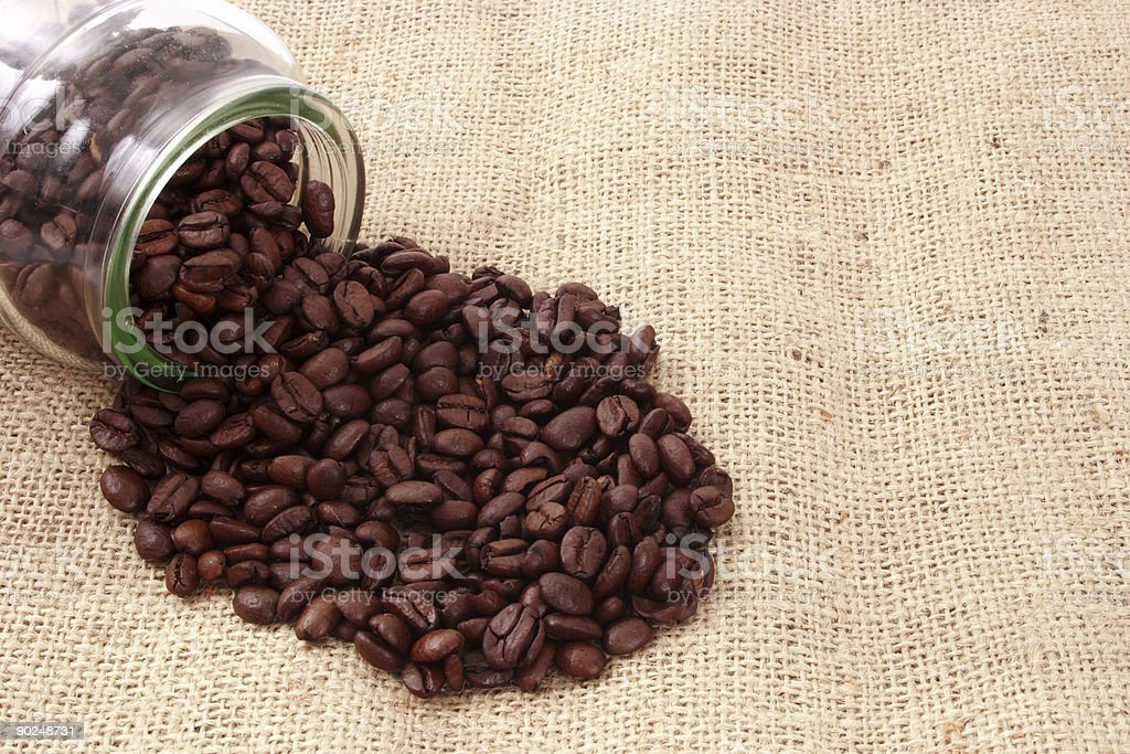 Coffee beans and glass royalty-free stock photo