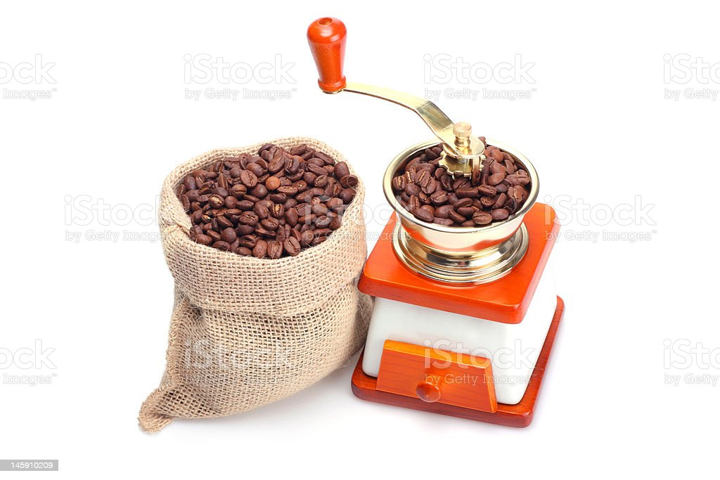 Coffee beans and grinder royalty-free stock photo