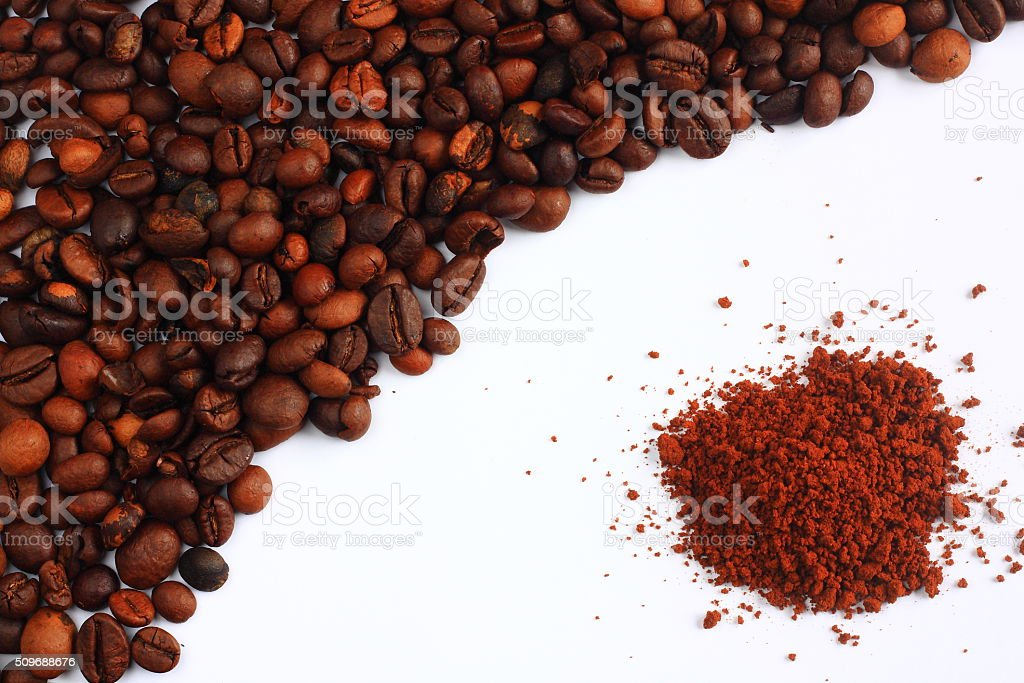 Coffee beans and instant coffee stock photo